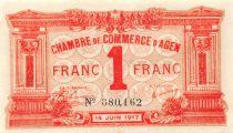 France 1 Franc - Chambre de Commerce d\'Agen 14-06-1917 - SUP