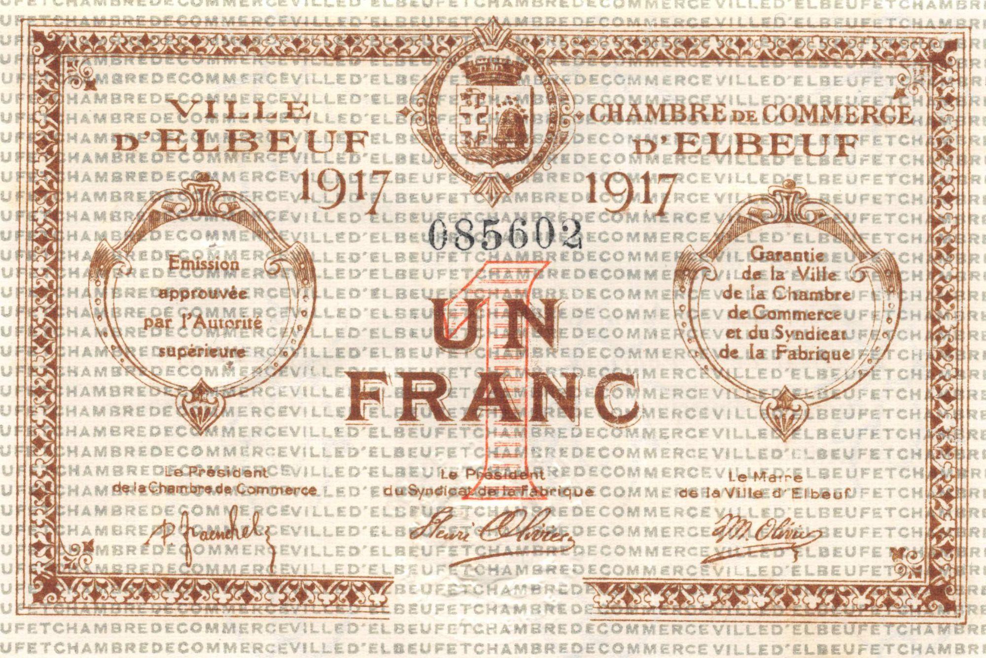 France 1 Franc - Chambre de Commerce d\'Elbeuf  1917 - SUP