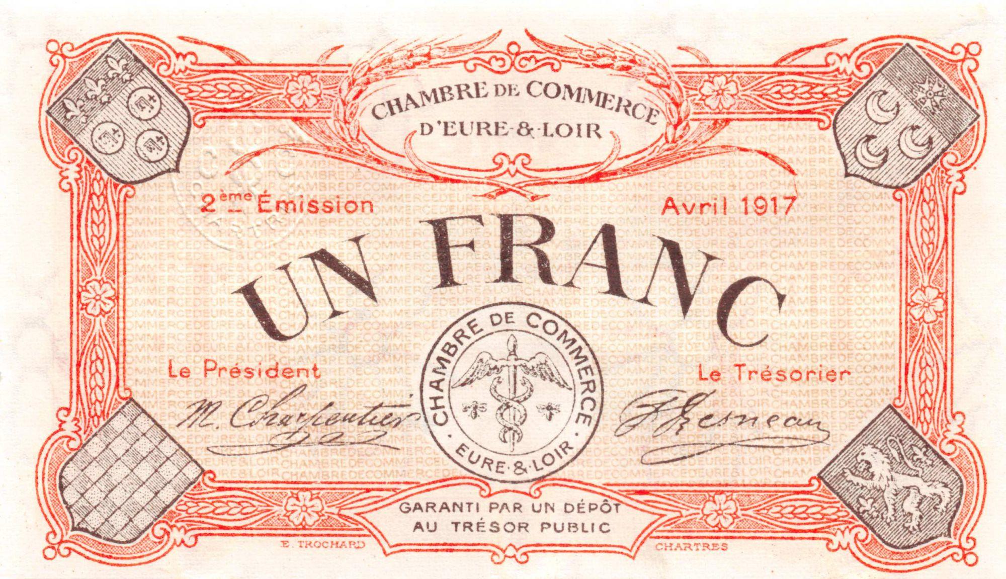 France 1 Franc - Chambre de Commerce d\'Eure-et-Loir 1917 - SPL