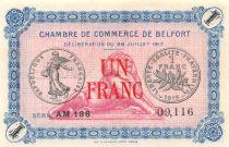 France 1 Franc - Chambre de Commerce de Belfort 1917 - P.NEUF