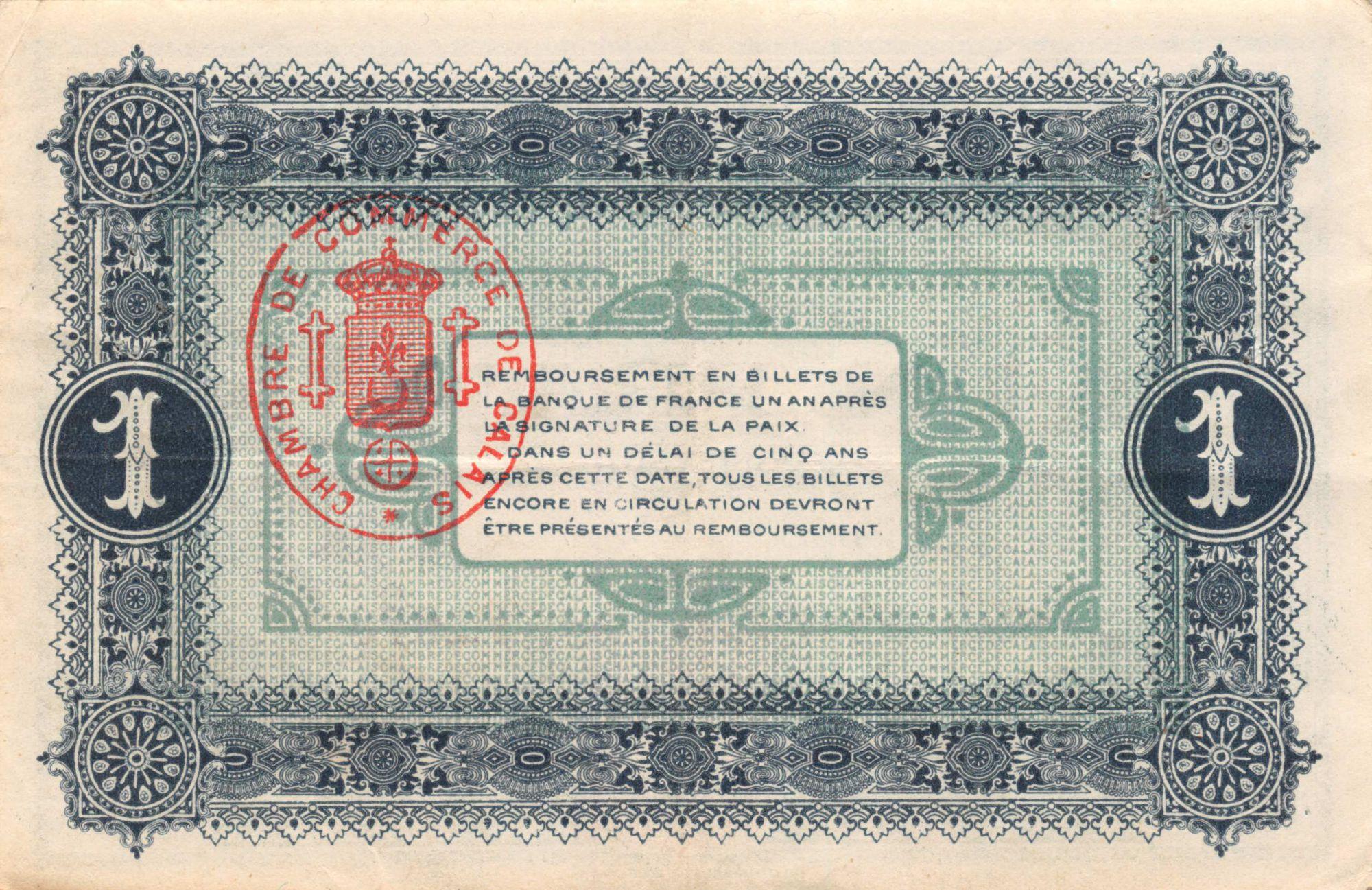 France 1 Franc - Chambre de Commerce de Calais 1916 - TTB