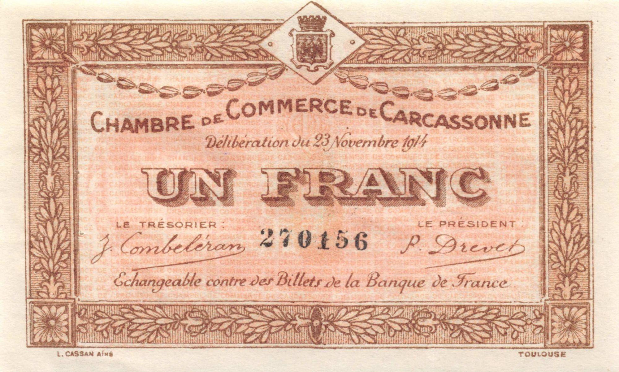 France 1 Franc - Chambre de Commerce de Carcassonne 1914 - SUP