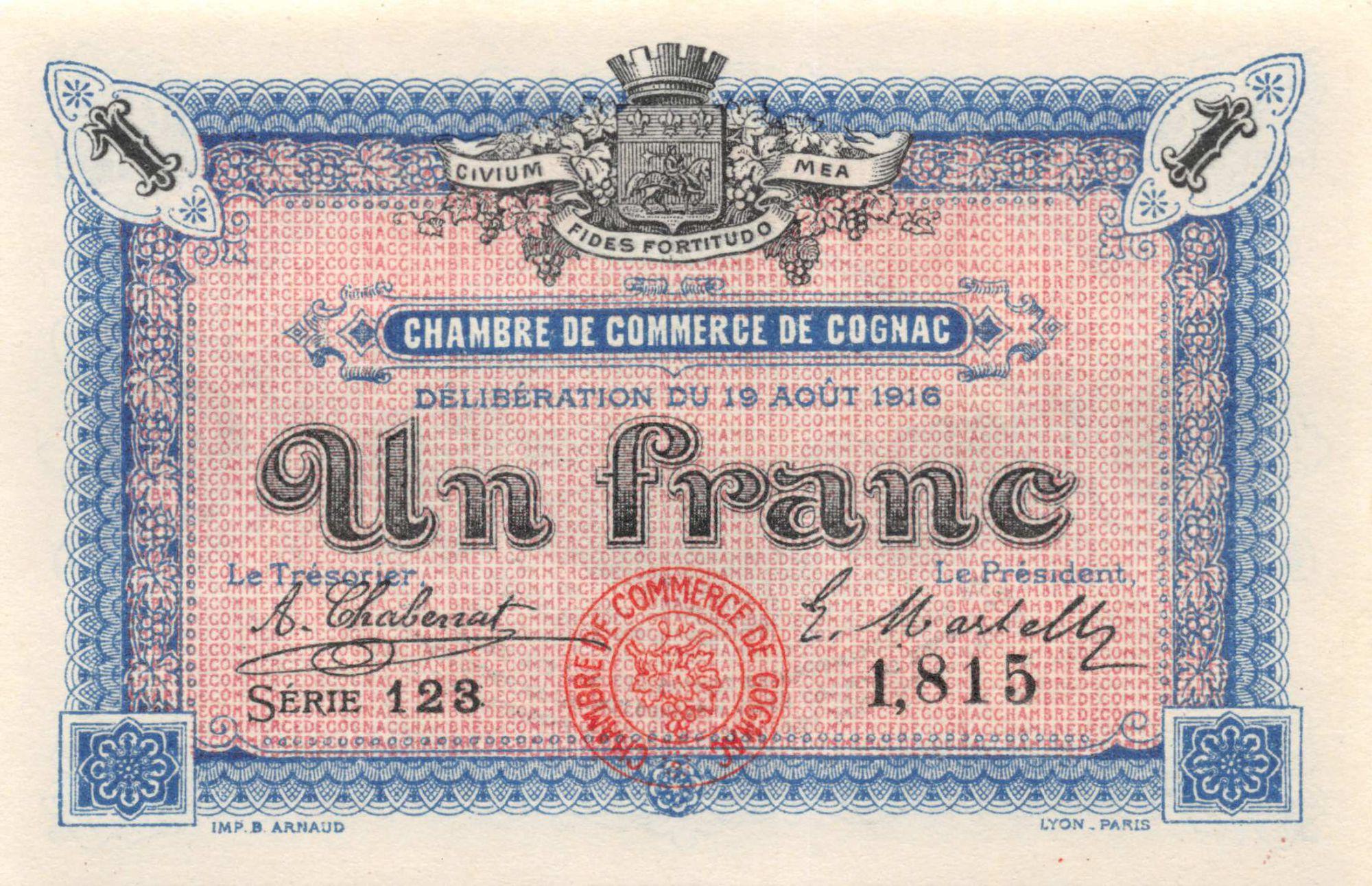 France 1 Franc - Chambre de Commerce de Cognac 1916 - P.NEUF