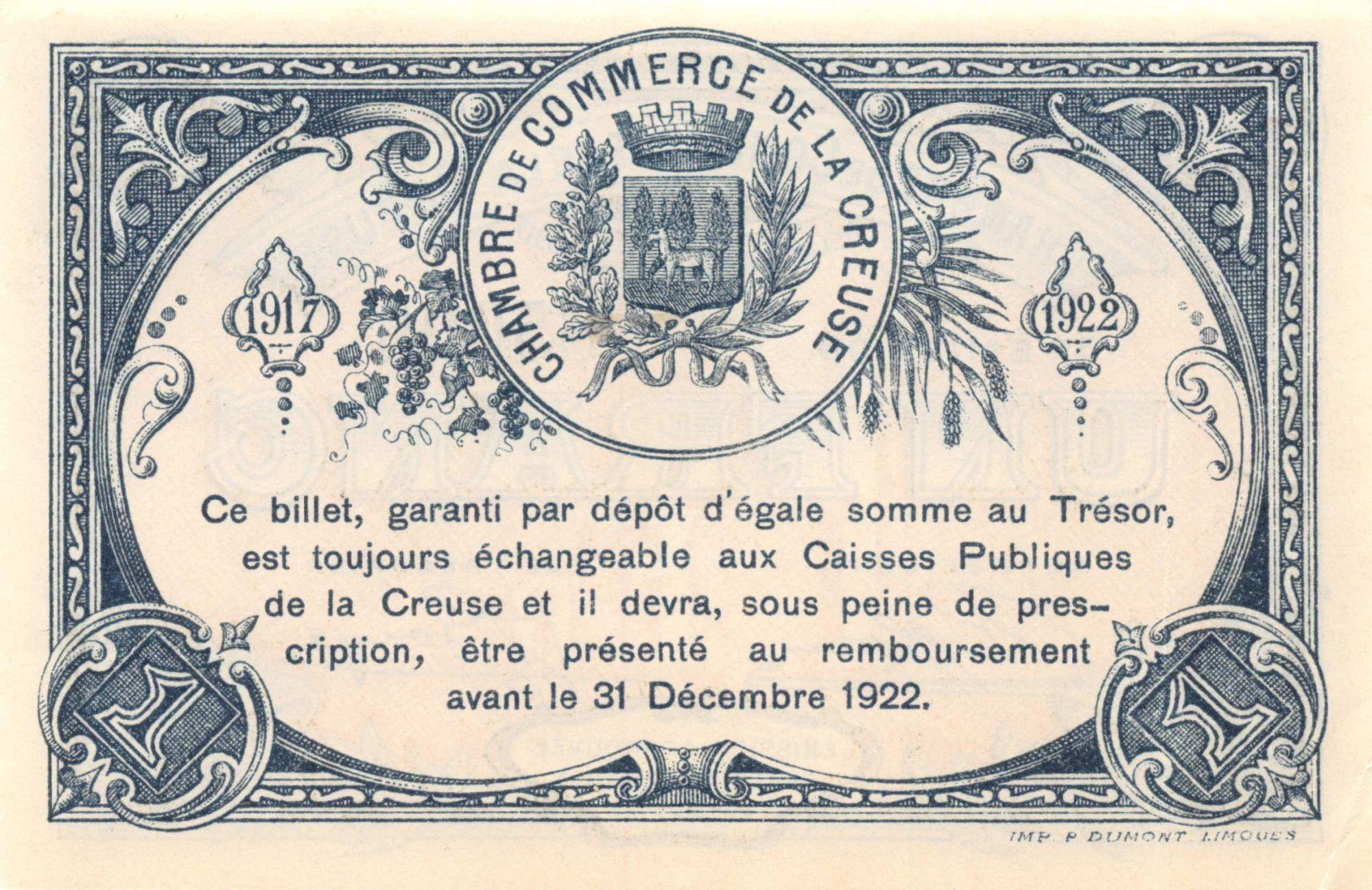 France 1 Franc - Chambre de Commerce de la Creuse 1917 - SUP