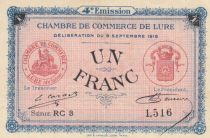 France 1 Franc - Chambre de Commerce de Lure 1918 - SUP+