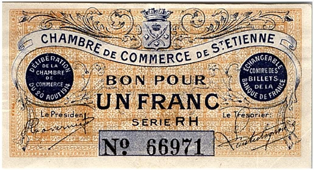 France 1 Franc - Chambre de Commerce de Saint-Etienne 1914 - SUP