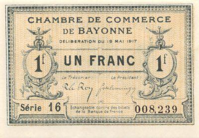 Billet france 1 franc chambre de commerce de bayonne - Chambre du commerce bayonne ...