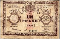 France 1 Franc - Rouen Chamber of Commerce 1916 - F to VF