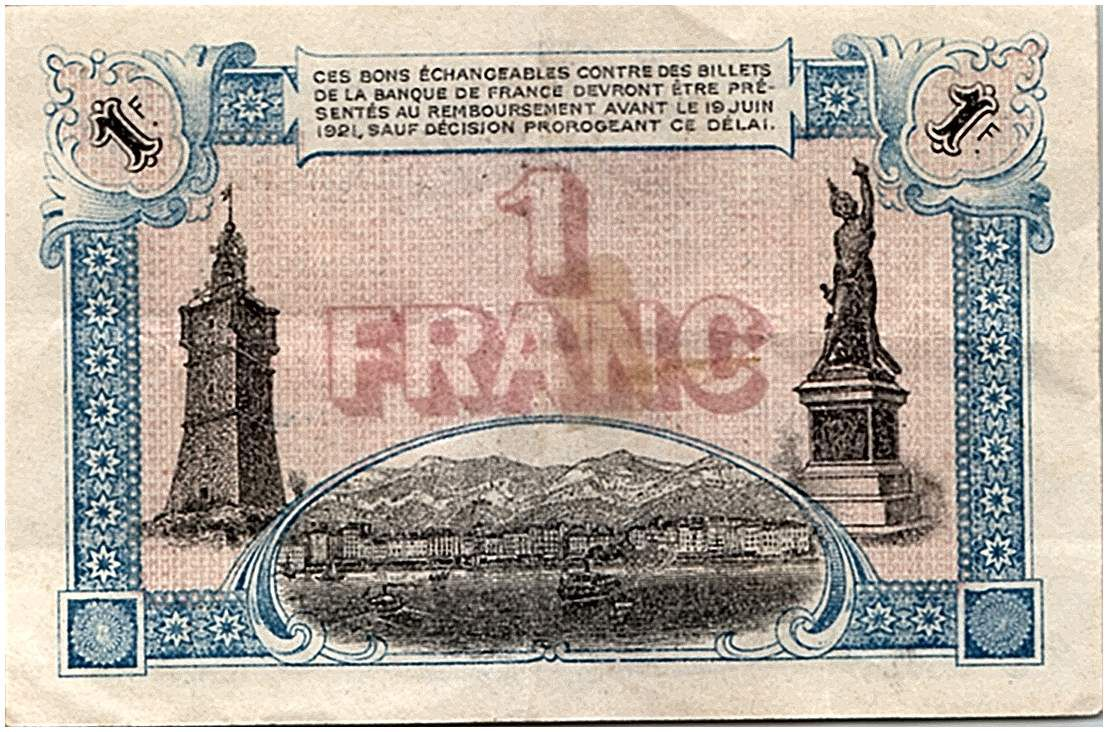 France 1 Franc - Toulon Chamber of Commerce 1916 - VF to XF