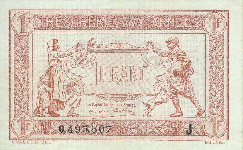France 1 Franc  Trésorerie aux armées  - 1917 J 0.495.507