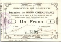 France 1 Franc Banteux City - 1915