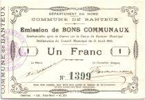 France 1 Franc Banteux City - 1915