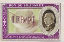 France 1 Franc Bon de Solidarité - WWII - 1941-1942 - AU