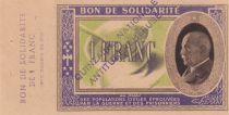 France 1 Franc Bon de Solidarité Pétain - Bol de Soupe 1941-1942 - SPL -  Quinzaine Anti-Tuberculeuse
