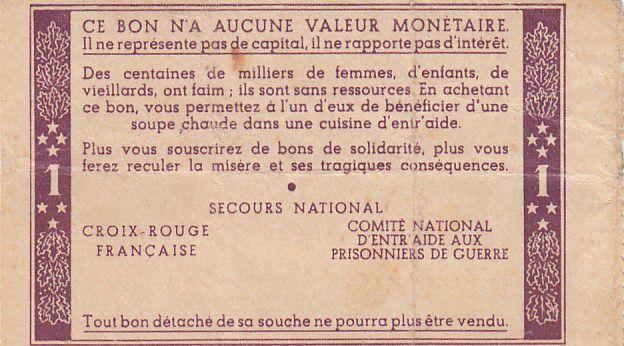 France 1 Franc Bon de Solidarité Pétain - Bol de Soupe 1941-1942 - TTB - sans série