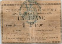 France 1 Franc Brunemont Commune - 1914