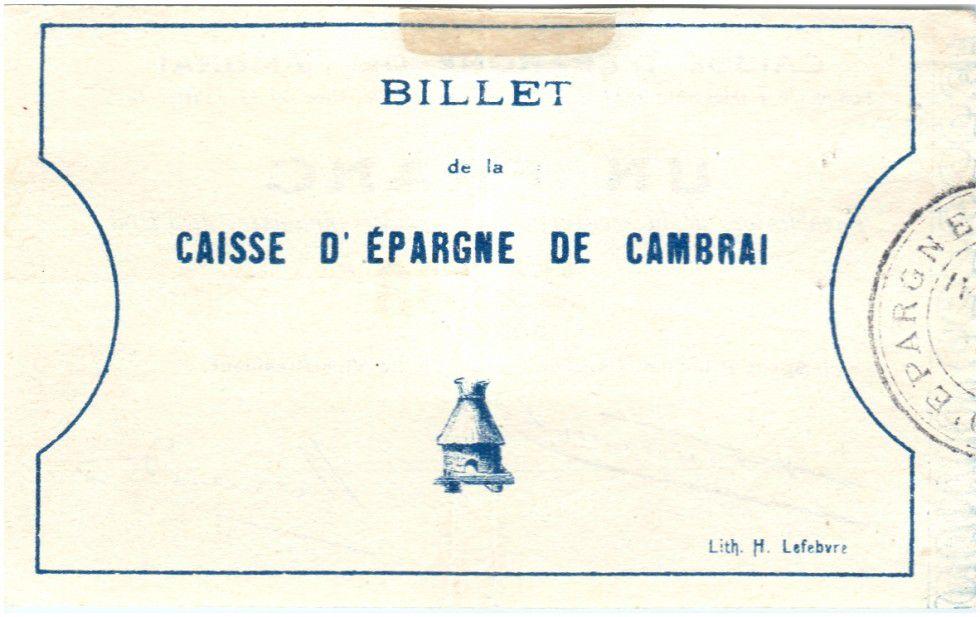 France 1 Franc Cambrai Caisse d´Epargne