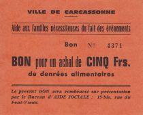 France 1 Franc Carcassonne Bon pour un achat de 5 francs de denrées alimentaires