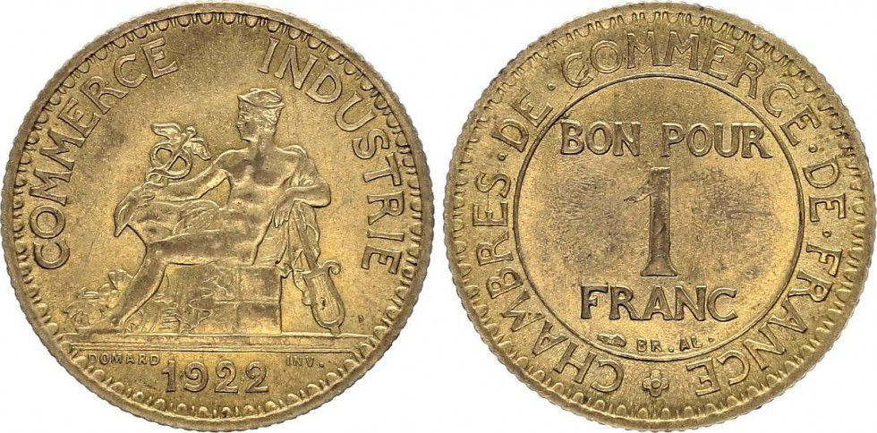 Pi ce france 1 franc chambre de commerce 1922 for Chambre de commerce tuniso francaise