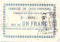 France 1 Franc Croix-Fonsomme City - 1915