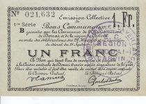 France 1 Franc Douai Commune - 1916