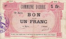 France 1 Franc Erre City - 1915