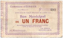 France 1 Franc Etreux Commune - 1915