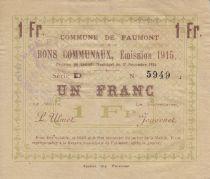 France 1 Franc Faumont Commune - 1915