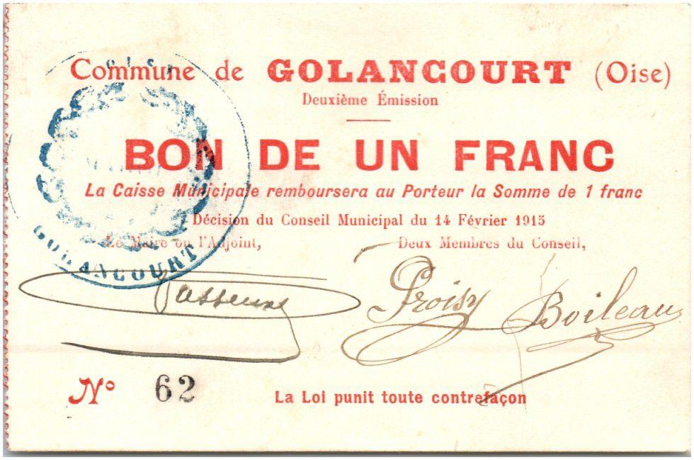 France 1 Franc Golancourt City