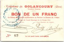 France 1 Franc Golancourt Commune