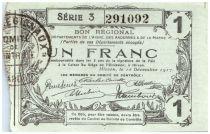 France 1 Franc Hirson Bon Régional - 1917