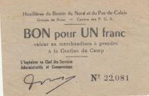 France 1 Franc Houillières du Pas de Calais - Prisonniers de Guerre 1940-1945