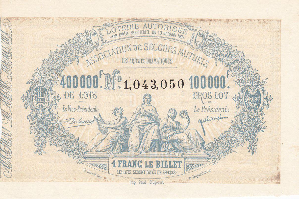 France 1 Franc Loterie Association de Secours Mutuels des Artistes Dramatiques 1881 - SUP +