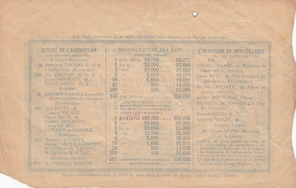 France 1 Franc Loterie Association des Musiciens- 1884 - TTB