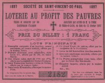 France 1 Franc Loterie au Profit des Pauvres St Vincent de Paul- 1897 - SUP