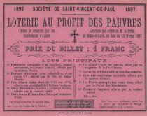 France 1 Franc Loterie au Profit des Pauvres St Vincent de Paul- 1897 - XF