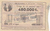 France 1 Franc Loterie Institut Général Psychologique - 1906 - TTB