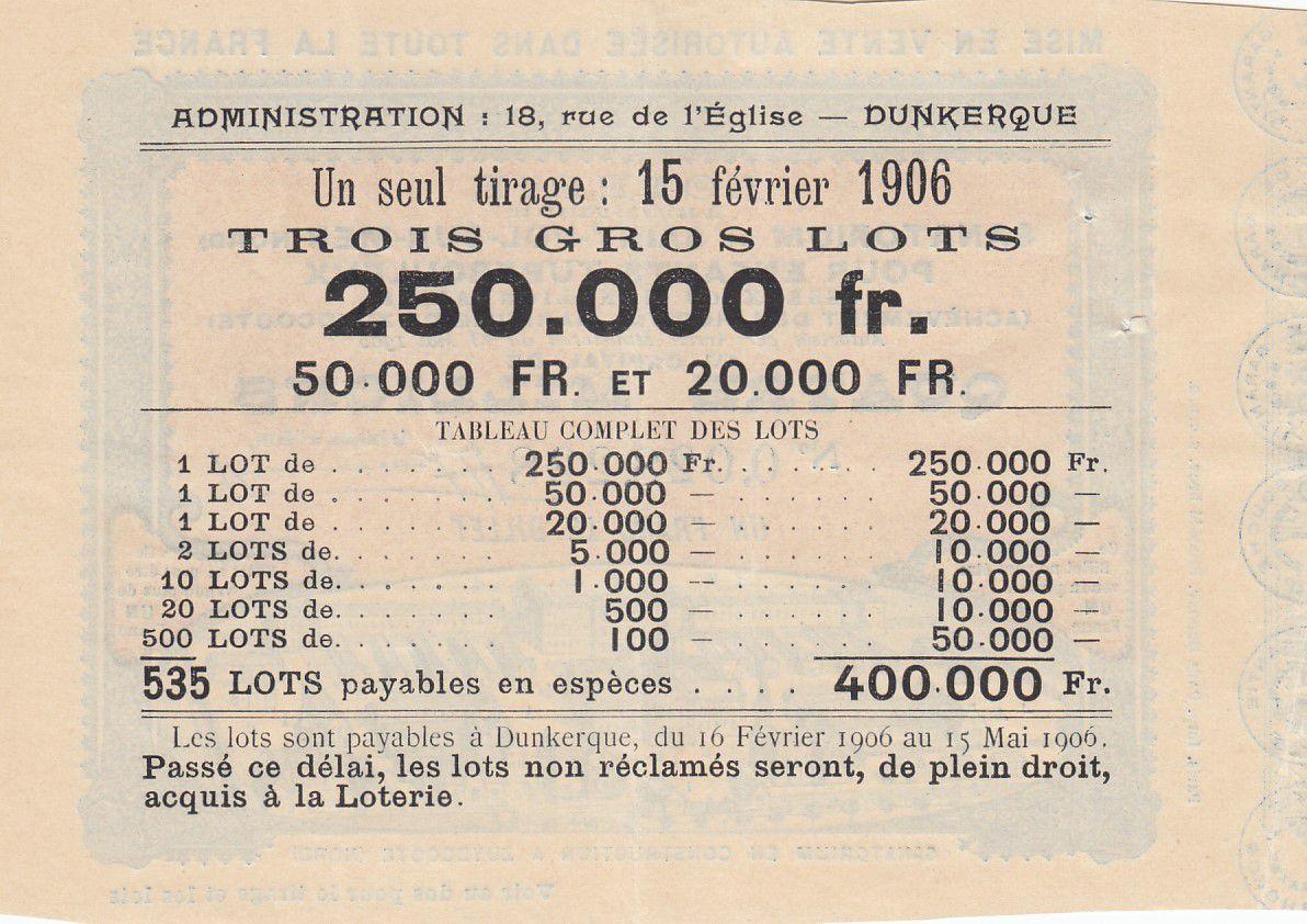 France 1 Franc Loterie Santorium de St Pol sur Mer - 1905 - TTB