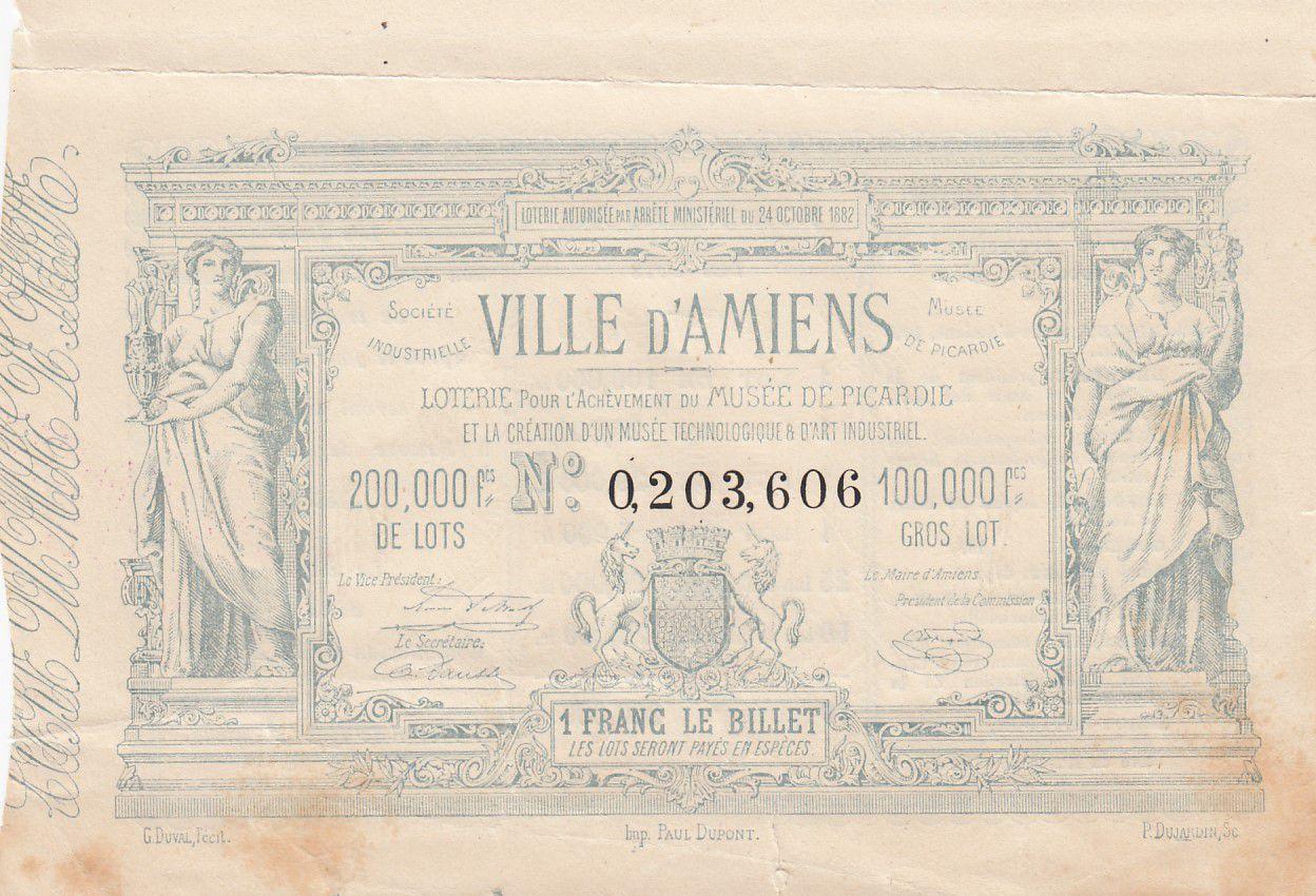 France 1 Franc Loterie Ville d\'Amiens- 1882 - TTB