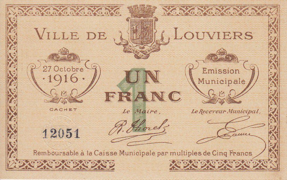 France 1 Franc Louviers City - 1916
