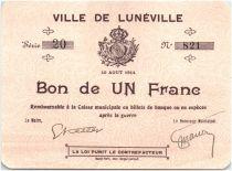 France 1 Franc Lunéville Ville