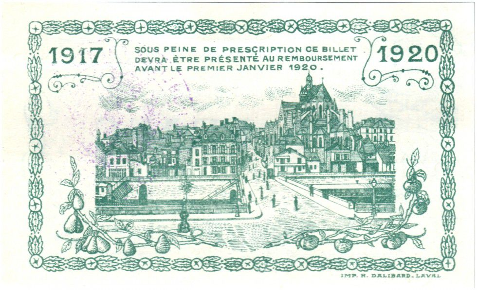 France 1 Franc Mayenne City - 1917