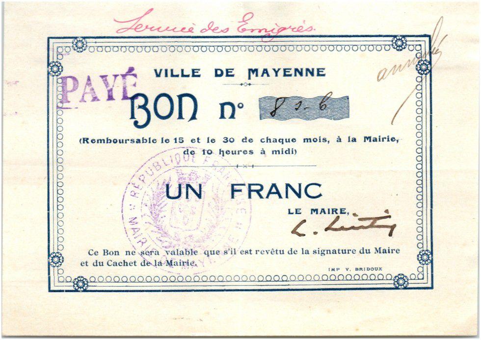 France 1 Franc Mayenne City