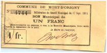 France 1 Franc Mont d´Origny City - 1914