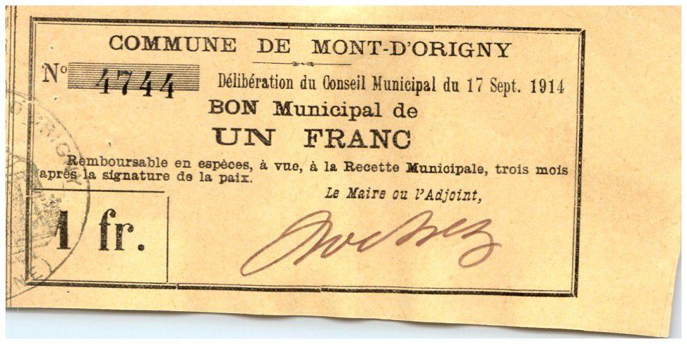 France 1 Franc Mont d´Origny Commune - 1914