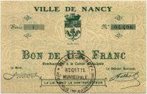 France 1 Franc Nancy Ville - 1916