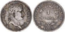 France 1 Franc Napoleon I - 1808 A Paris Silver