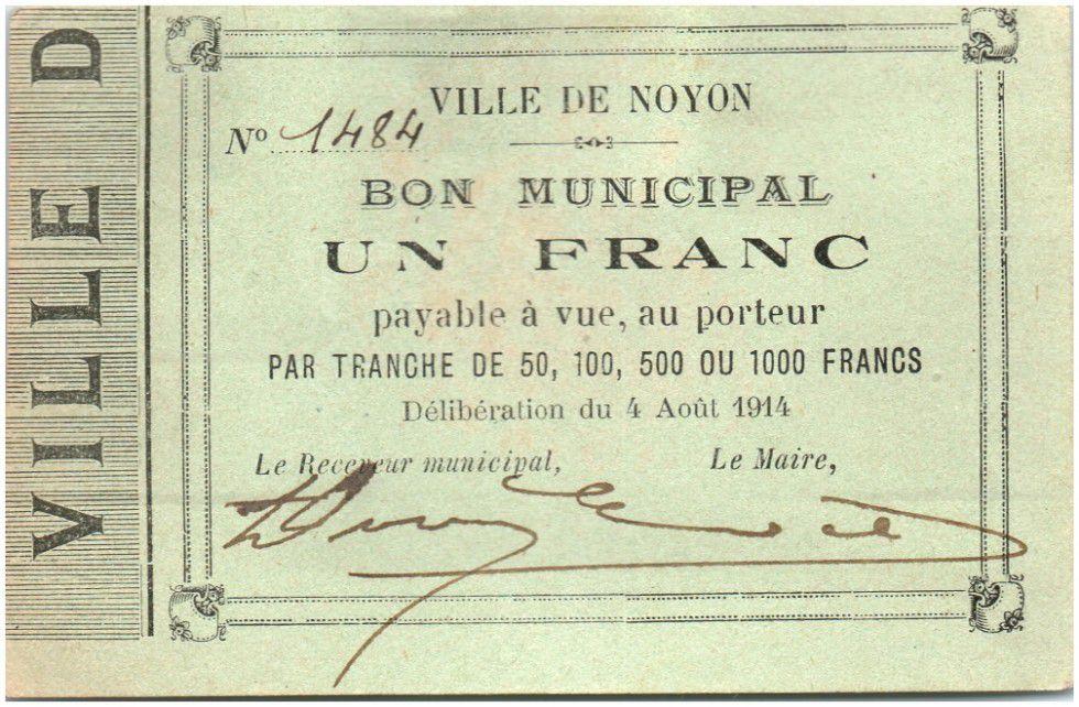 France 1 Franc Noyon City - 1914