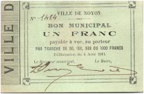 France 1 Franc Noyon Ville - 1914