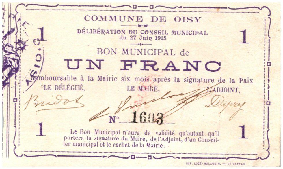 France 1 Franc Oisy Bon Municipal - 1915